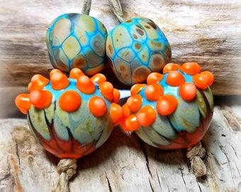 Sky Harvest Acorns** Handmade Lampwork Beads** Fall Beads