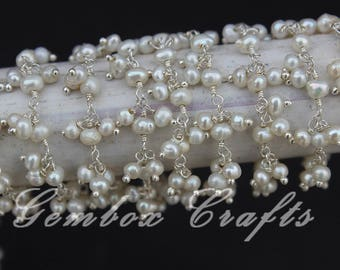 Freshwater Pearl 3-4mm Round Smooth Silver Plated Beaded Cluster Chain