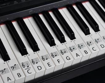 STANDARD CLEAR Keyboard / Piano Stickers up to 61 Keys the best way to learn Piano Transparent