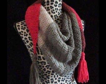 Handmade Crochet Color Block Kerchief Scarf - w/tassels