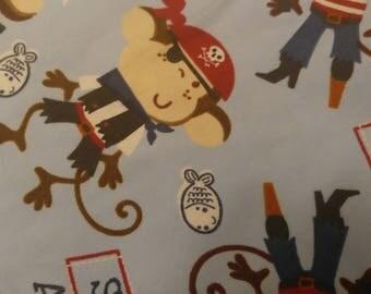 Pirate monkey baby blanket