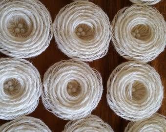 Burlap loopFlowers/pearls - Rustic Wedding Decoration, Craft Projects Lot of 12