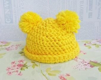 "Blythe yellow hat Crochet hat pompom hat Blythe hat Blythe doll clothes Hand crochet hat ICY Handmade Pullip hat Blythe doll 12"""