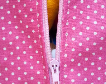 Pink polka dot cosmetic bag pouch with Zipper