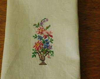 Vintage Petit Point Counted Cross Stitch, Flower Bouquet Needlework, hand sewing, fingertip towel, 1970's linen, photo prop, wedding decor