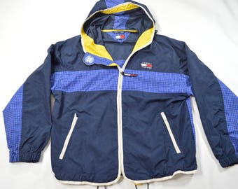 Vintage 90s Tommy Hilfiger Sailing Windbreaker Zip-Up Jacket XL SPELLOUT