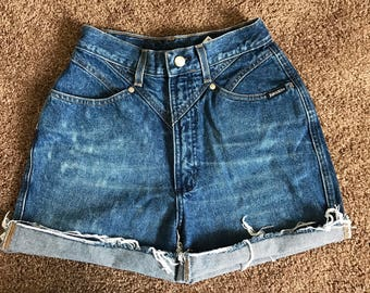 1980s Vintage high waisted jean shorts size 8