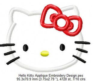 Hello Kitty Applique Embroidery Design - INSTANT DOWNLOAD