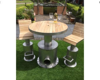 Stainless steel outdoor table and stools reclaimed one off
