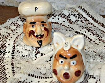 Vintage Salt and Pepper Shakers Chef