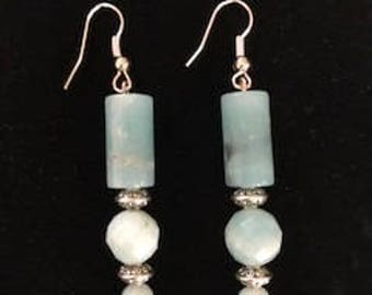Long drop Coral and Silver earrings