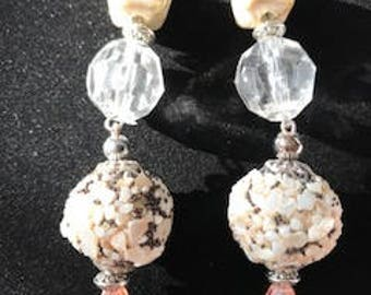 Beige and Clear Crystal/Pink Dangle Drop Earrings