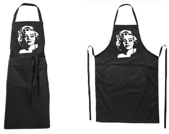Full modern black apron M.Monroe-for-for her or for him-two pockets-quality printed-BBQ-for gift-father day-mother day-Birthday