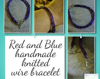 Red and Blue hand knitted wire bracelet