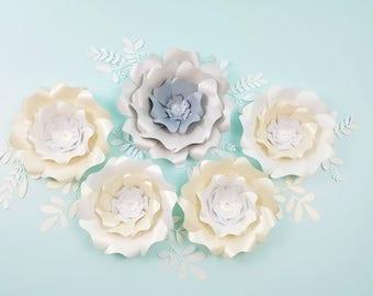Large nursery flowers white.  Large ivory flowers wall. Nursery silver flowers decor. Baby shower decor. Girls room decor. Flowers decor.
