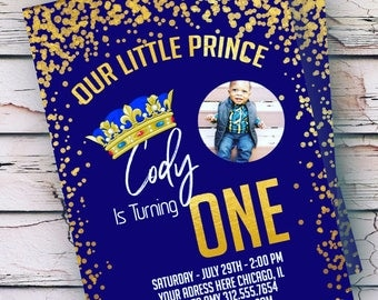 Our Little Prince Birthday Invitation - Our Little Prince Photo Invitation - Royalty Invitation - Any Age