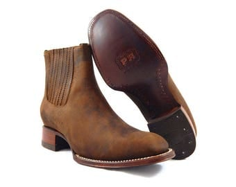Mens Rodeo Square Toe Ankle Cowboy Boots