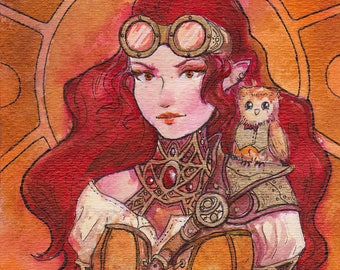 Steampunk Lady Watercolor Artwork