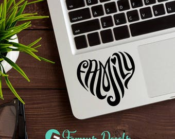 Family Heart Decal, Love Decal, Heart Decals, Family Sticker, Heart MacBook Decals, Love Family Decals, Family Heart Sticker, Window Decals
