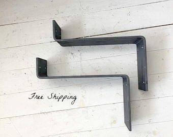 "Lip Shelf Brackets – Metal Shelf Brackets Heavy Duty for Farmhouse Shelves and Farmhouse Decor 3"" Width"
