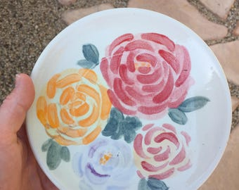 Hand Thrown, Floral Hand Painted Ceramic Plate