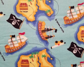 Pirate Treasure Map Flannel by the Yard