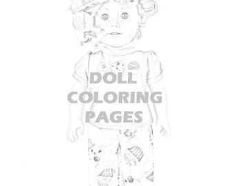 american girl doll tenney coloring pages | Doll coloring | Etsy