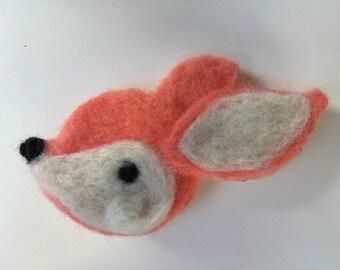 Fox Lapel Pin, Needle Felt Brooch, Cute Animal, Fox, Needle Felt