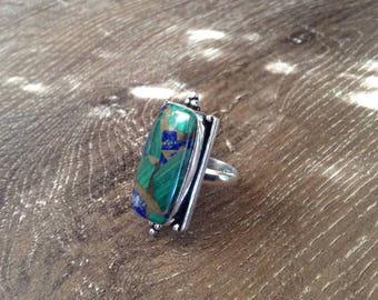 Handmade Silver Malachite, Azurite & Copper Ring