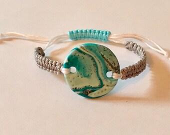 Macrame bracelet with clay charm