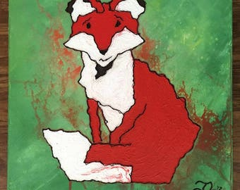 Fox Painting - Red Fox - Fox Art - Nursery Art - Woodland - Forest - Child's Room - Home Decor - Nature Art - Textured Art - Green - 24x24