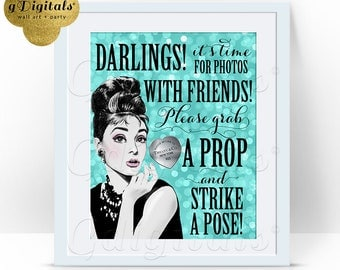 Audrey Hepburn Photo Booth Sign 8x10, Breakfast at theme blue, bridal shower, sweet 16, Printable File, Digital, You Print, DIY,  {Bokeh}