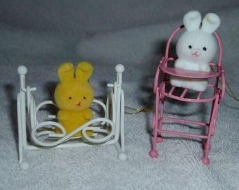 Vintage 1986/87 Set of Two Flocked Bunnies with metal nursery furniture
