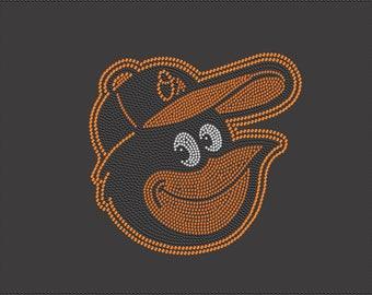 Orioles Mascot Baseball Rhinestone Iron on Transfer