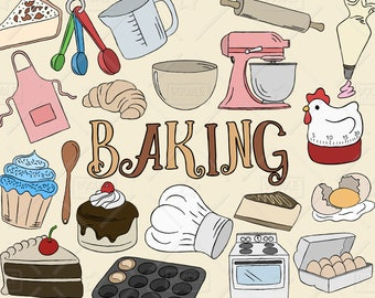 Baking Clipart Vector Pack, Kitchen Clipart, Pastry Clipart, Baking Graphics, Oven, Eggs, Chef Hat, Cake, Apron Clipart, SVG, PNG file