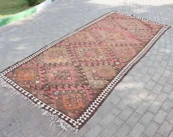 Decorative Kilim Turkish Rug, Area Rug, Hand woven Rug, Bohemian Vintage Rug, Boho Chic Rug, Anatolian Kilim Rug, Moroccan Style Kilim Rug