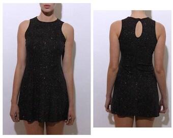 vintage 1990's 90's micro mini black glitter dress stretchy sparkly rainbow shimmer sleeveless S-M