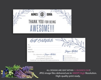 Custom Gift Cards, Gift Certificate Agnes and Dora, Agnes Dora Gift Certificate, Digital Agnes and Dora, Printable File AG18