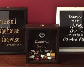 Essential Oil Shadow Box for empty Young Living DoTerra Essential Oil Bottles, Decorative oil shelf/rack,  Diamond Rising, Proverbs 21:20