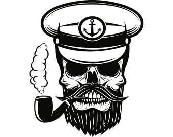 Captain Skull Nautical Sailor Marine Mustache Pipe Beard    .SVG .EPS .PNG Vector Space Clipart Digital Download Circuit Cut Cutting