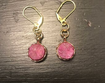 Golden pink rockly earrings