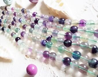 Flourite beads, 8mm mala beads, Semi precious beads, Colored beads.