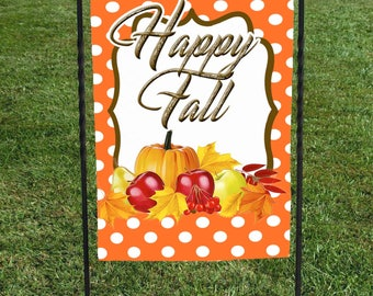 "Happy Fall Garden Flag, Orange with white polka dots, fall fruit, pumpkin apples leaves 12""x18"" Thanksgiving, Autumn 12""x18"""