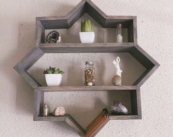 Distressed Gray Star Shelf