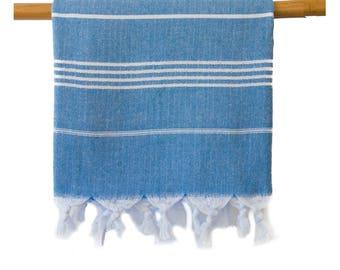 Free Shipping Iris Steel Blue Turkish Towel Peshtemal