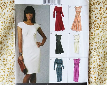 Vogue Dress Pattern 6 Styles V8685 8685 Options sizes 6 8 10 12  Fitted Gathered Bust Elegant Modern Sewing
