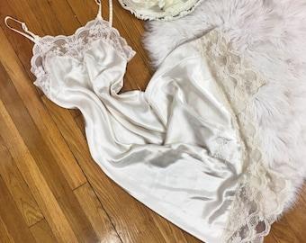 S/Med/Lrg Vtg 80s Christian Dior Silky Slip Dress