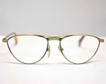 Vintage ALAIN MIKLI Paris Bronze Metal Cat Eye Eyeglasses Frames / Model 2136 Col 3881 / Retro Collectable Rare