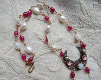Ruby & Freshwater Pearl Lunula Assemblage Necklace - Cresent Moon