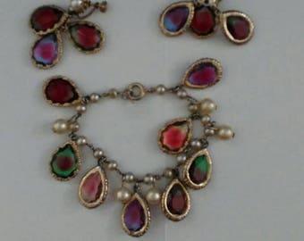 vintage jewelry set, vintage bracelet, vintage earrings, vintage jewelry, multicolor jewelry,  jewelry, vintage,  vintage beads, jewelry set